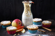 Apple cinnamon muffins and glass bottle of baking mix - CSF28774