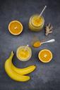 Orange banana smoothie with ginger and curcuma - LVF06610