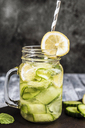 Detox water, cucumber water, lemon, mint in a glass - SARF03486