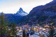 Switzerland, Valais, Zermatt, Matterhorn, townscape, chalets, holiday homes in the evening - WDF04330