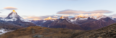 Switzerland, Valais, Zermatt, Matterhorn, Alphubel, Allalinhorn and Rimpfischhorn in the morning - WDF04333