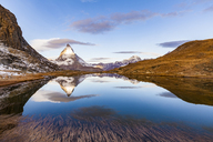 Switzerland, Valais, Zermatt, Matterhorn, Lake Riffelsee in the morning - WDF04336