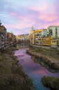 Spain, Catalunya, Girona, Cathedral and houses along the River Onyar in the evening - GEMF01846