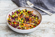 Quinoa salad with edamame, corn, carott, tomato, paprika, onions in a bowl - SARF03497