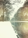 Germany, Northrhine Westfalia, Cologne, city district Lindenthal, Rautenstrauch-Kanal in Winter with snow - GWF05395