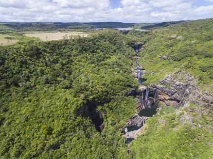 Mauritius, Tamarin River, Tamarind Falls and Tamarind Falls Reservoir, Aerial view - FOF09813