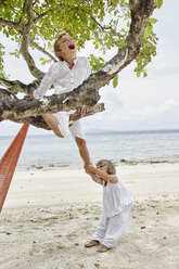 Thailand, Phi Phi Islands, Ko Phi Phi, playful boy and little girl climbing on a tree on the beach - RORF01099