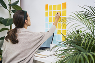 Young woman with laptop on desk working with adhesive notes on the wall - BSZF00165