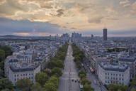 France, Paris, La Defense and city view in the evening - RPSF00177