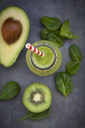 Green detox smoothie with avocado, kiwi and baby spinach - LVF06630