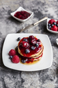Pancakes with red fruit jelly, maple sirup, raspberry and blueberry - SARF03503