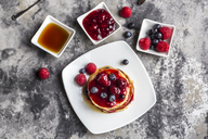 Pancakes with red fruit jelly, maple sirup, raspberry and blueberry - SARF03506