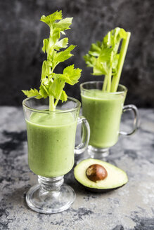 Avocado smoothie, green smoothie with cucumber, apple, celery stalk - SARF03511