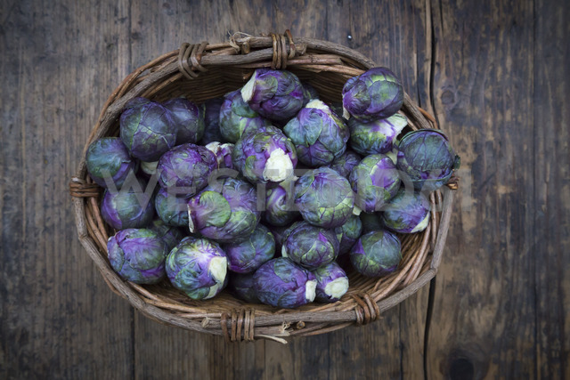 Purple brussels sprouts in basket - LVF06634