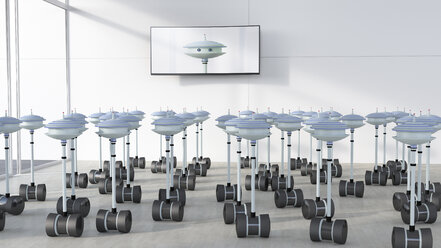 Group of robots in a room looking at screen with robot, 3d rendering - UWF01322