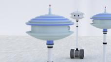 Three robots in a room, 3d rendering - UWF01325