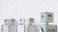 Group of robots with one seperated from the others, 3d rendering - UWF01328