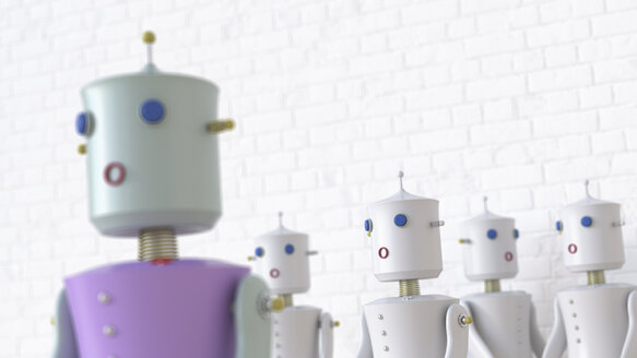 Female robots with one seperated from the others, 3d rendering - UWF01331