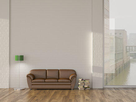 Floor lamp and sofa in room with books andview on Hamburg Speicherstadt, 3d rendering - UWF01334