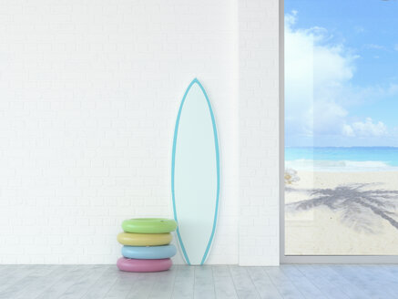 Floating tires and surfboard at a wall with view to beach and sea, 3d rendering - UWF01337