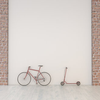 EBicycle and scooter leaning against a wall, 3d rendering - UWF01340