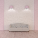 Couch under pink wall lamps, 3d rendering - UWF01343