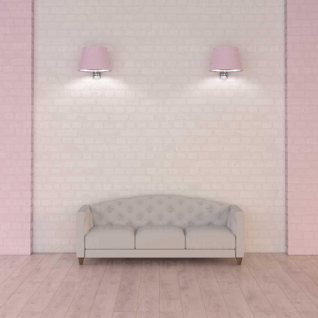 Couch under pink wall lamps, 3d rendering - UWF01343 - HuberStarke/Westend61