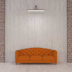 Orange couch under wall lamp, 3d rendering - UWF01346