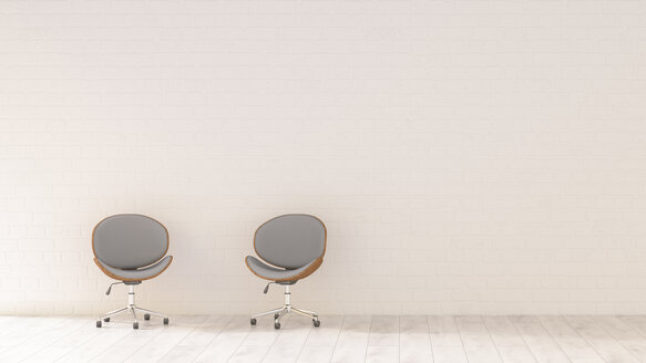 Two office chairs in a room, 3d rendering - UWF01349