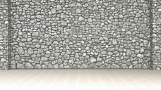 Empty room with stone wall and wooden floor, 3d rendering - UWF01352