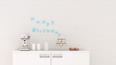 Birthday decoration and coffee machine on chest of drawers, 3d rendering - UWF01355