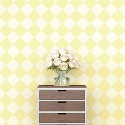 Bunch of flowers on chest of drawers in front of checkered pattern wallpaper, 3d rendering - UWF01358