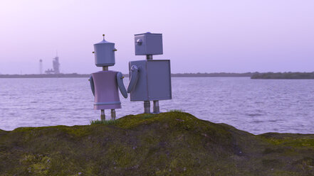 Robot couple at the coast looking at the sea, 3d rendering - UWF01364