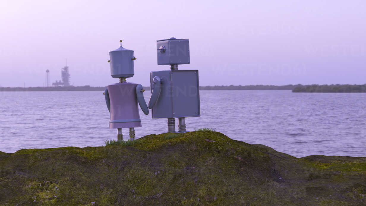 Robot couple at the coast looking at the sea, 3d rendering - UWF01364 - HuberStarke/Westend61