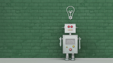 Robot under light bulb painted on brick wall, 3d rendering - UWF01367