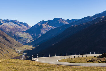 Switzerland, Valais, Alps, Furka pass, hairpin bend - WDF04387