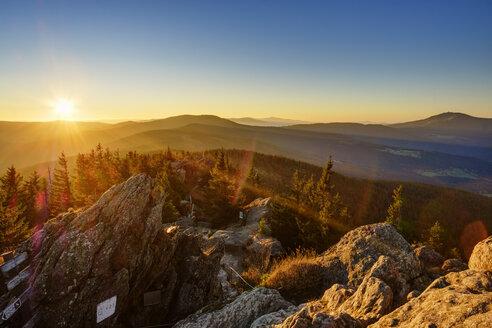 Germany, Bavaria, Upper Palatinate, Bohemian Forest, Border Czechia, Bavarian Forest, Grosser Osser near Lam at sunrise - SIEF07698