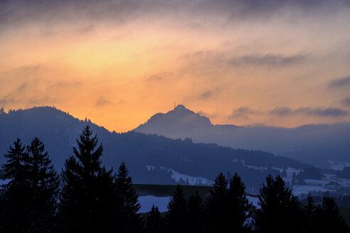 Germany, Bavaria, Swabia, near Wertach, Gruenten, afterglow - LBF01748