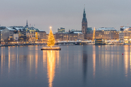 Germany, Hamburg, Binnenalster, Christmas tree, town hall in the evening - KEBF00731