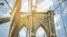 USA, New York, Brooklyn, Close up of Brooklyn Bridge metal cables and arches with american flag on the top - DAPF00875