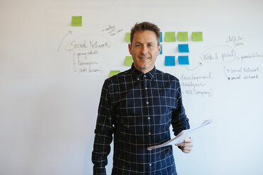 Confident businessman standing in office in front of whiteboard with adhesive notes - EBSF02087