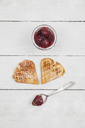 homemade waffels with cherries, waffel hearts with cherry blossom decoration - GWF05421