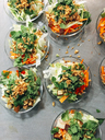Fresh vegan vietrnamese salad with sauted tofu, carrots, bell pepper, mint and roasted onions - IPF00438