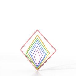 Abstract balancing colorful squares, 3d rendering - AHUF00476