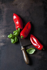 Three red pointed peppers, basil leaves and old cleaver on rusty ground - CSF28844