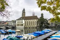 Switzerland, Zurich, view to mooring area at Limmat River - PUF01308