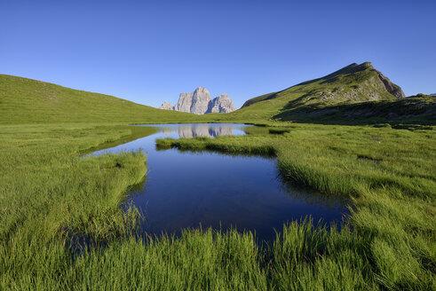 Italy, Province of Belluno, Dolomites, Selva di Cadore, Monte Pelmo reflecting in Lago delle Baste - RUEF01807