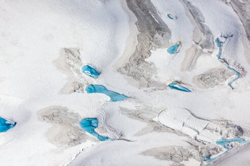 USA, Alaska, Aerial view of Ruth Glacier, waterholes - MMAF00280