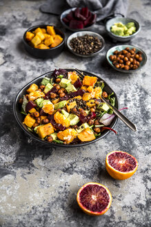 Superfood salad, avocado, beetroot, roasted chickpea, sweet potatoe, beluga lentil and blood orange - SARF03531