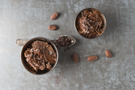 Cups of chocolate icecream sprinkled with cacao and cacao nibs - MYF02007